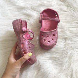 CROCS Pink Sparkle Glitter Slip On SZ 13